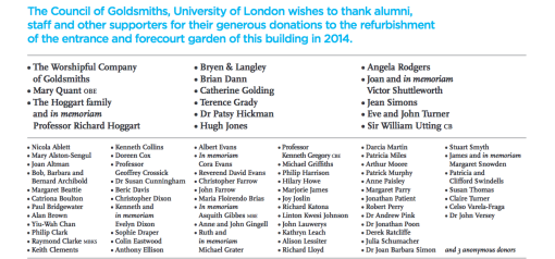 Joan Barbara Simon on Donor Board of Richard Hoggart Building Goldmsiths College
